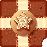Christmas chocolate box with badge and ribbon Royalty Free Stock Photo