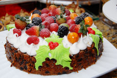Christmas chocolate cake. Colorful decorated christmas chocolate cake Stock Images