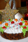 Christmas chocolate cake. Colorful decorated christmas chocolate cake Royalty Free Stock Photo