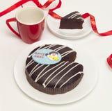 Christmas chocolate cake. A Christmas chocolate cake for all to share Royalty Free Stock Photography