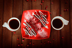 Christmas chocolate cake dessert with pomegranate and coffee Royalty Free Stock Photography