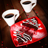 Christmas chocolate cake dessert with pomegranate and coffee Royalty Free Stock Photos