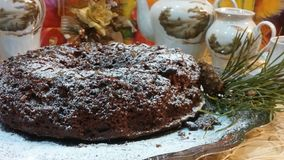 Christmas chocolate cake. Christmas chocolate tasty cake  dusted with icing sugar on a white dish and with pine branch Stock Photos
