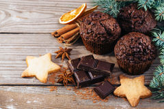 Christmas chocolate cake on a wooden board Stock Photos