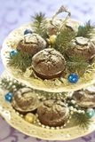 Christmas chocolate cakes Royalty Free Stock Photo