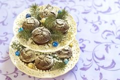 Christmas chocolate cakes Royalty Free Stock Image