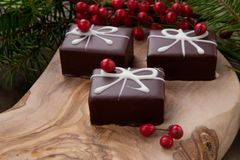 Christmas Chocolate Candy and Red Berries stock image