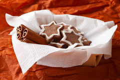Christmas chocolate chip cookies in a wicker basket Royalty Free Stock Photography
