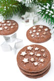 Christmas chocolate cookies, baking dish on white background Stock Images