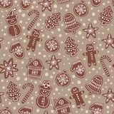 Christmas chocolate cookies seamless vector pattern. Holiday beige hand drawn background with sugar coating biscuits. Winter sweets and candies colorful stock illustration