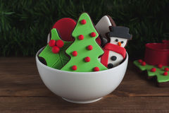 Christmas chocolate cookies in small bowl Royalty Free Stock Image