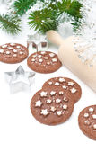 Christmas chocolate cookies on a white background Royalty Free Stock Images