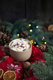 Christmas chocolate with cream, spices, walnuts and knitted pullover. Xmas still life Stock Photos
