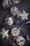 Christmas chocolate crinkles Stock Photography