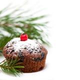 Christmas chocolate cupcake Stock Photography