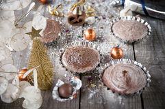 Christmas chocolate cupcake on wooden boards.Holidays concept Stock Image