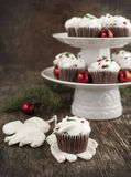 Christmas chocolate cupcakes with cream cheese frosting Royalty Free Stock Photography