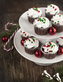 Christmas chocolate cupcakes with cream cheese frosting Stock Photo