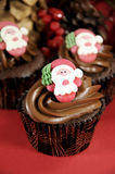Christmas chocolate cupcakes Stock Image