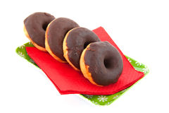 Christmas chocolate donuts Stock Photos