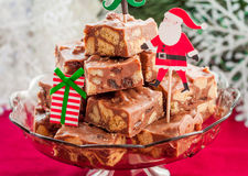 Christmas Chocolate Fudge Slices Stock Image