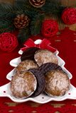 Christmas chocolate gingerbreads Royalty Free Stock Images