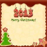 Christmas chocolate honey-cakes greetings card Stock Photography