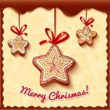 Christmas chocolate honey-cakes greetings card Royalty Free Stock Photo