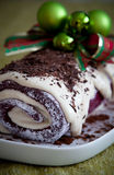 Christmas chocolate log Royalty Free Stock Photography