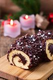 Christmas chocolate log, Buche de Noel, festive holiday cake Royalty Free Stock Photo