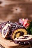 Christmas chocolate log,  festive holiday cake Royalty Free Stock Images