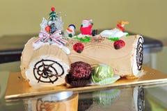 Christmas chocolate log cake Stock Images