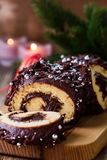 Christmas chocolate log,  festive holiday cake Stock Image