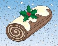 Christmas chocolate log Stock Photography