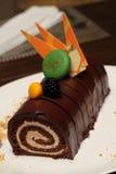 Christmas chocolate log with strawberry Stock Photo
