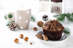 Christmas chocolate muffin and cocoa. Stock Photo