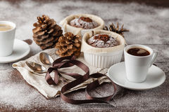 Christmas chocolate muffins on a white background Stock Images