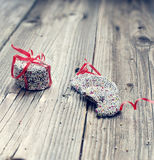 Christmas chocolate and red ribbon. Christmas chocolate Sprinkle and red ribbon stock photo