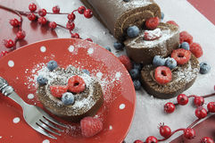 Christmas chocolate roulade yule log swiss roll Royalty Free Stock Image