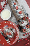 Christmas chocolate roulade yule log swiss roll Stock Photo