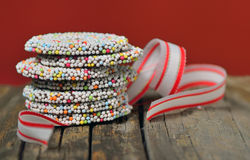 Christmas chocolate Sprinkle and ribbon Stock Images