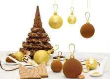 Christmas chocolate sweets and chocolate edible baubles Royalty Free Stock Photos