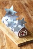 Christmas Chocolate Swiss Roll Cake Royalty Free Stock Photo
