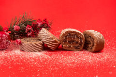 Christmas chocolate Swiss roll cake isolated on red background Royalty Free Stock Photo