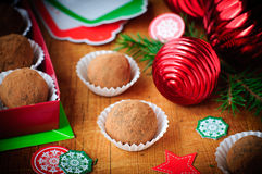 Christmas Chocolate Truffles in a Gift Box, Christmas Decoration. Christmas Chocolate Truffles in a Gift Box Stock Image