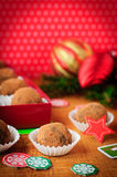 Christmas Chocolate Truffles in a Gift Box, Christmas Decoration. S, vintage effect Stock Images