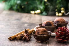 Christmas chocolate truffles Stock Images
