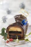 Christmas chocolate yule log cake Stock Images