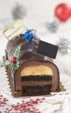 Christmas chocolate yule log cake Stock Photos