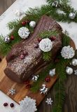 Christmas Chocolate Yule Log Cake stock photography